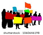 people of with large flags on... | Shutterstock . vector #1060646198