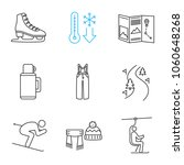 Winter Activities Linear Icons...