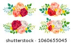 vector roses rosettes with... | Shutterstock .eps vector #1060655045