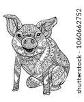 zentangle illustration with pig.... | Shutterstock .eps vector #1060662752