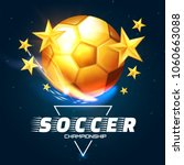 realistic soccer ball with gold ... | Shutterstock .eps vector #1060663088