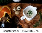white sauce on rustic wooden... | Shutterstock . vector #1060683278