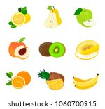 set of fruits. lemon  pear ... | Shutterstock .eps vector #1060700915