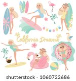 summer set with surf  flamingo  ... | Shutterstock .eps vector #1060722686