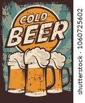 Cold Beer Vintage Retro Signag...