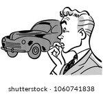man buying car   retro clip art ... | Shutterstock .eps vector #1060741838