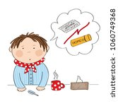 young ill man or a boy with flu ... | Shutterstock .eps vector #1060749368