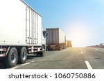 truck on highway road with... | Shutterstock . vector #1060750886