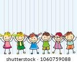 happy kids  banner  vector icon ... | Shutterstock .eps vector #1060759088