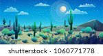 Desert Landscape At Nignt With...