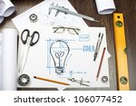 tools and papers on the table... | Shutterstock . vector #106077452