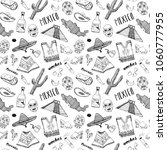 mexico seamless pattern doodle... | Shutterstock . vector #1060777955
