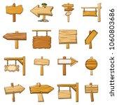 signpost road wooden icons set. ...   Shutterstock .eps vector #1060803686