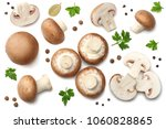fresh champignon mushrooms with ... | Shutterstock . vector #1060828865