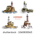 lighthouse and sea. marine... | Shutterstock .eps vector #1060830065