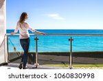 the beautiful girl standing on... | Shutterstock . vector #1060830998