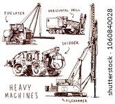 heavy machines sketch  pipe... | Shutterstock .eps vector #1060840028