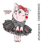pig in a striped cardigan  in a ... | Shutterstock .eps vector #1060844642