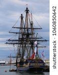 Small photo of Outdoor view of the french vessel called l'hermione, replica ship of hermione, an ancient famous boat