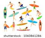 Surfers Set. Men And Women...