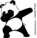 black and white dabbing panda | Shutterstock .eps vector #1060879292