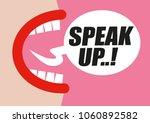 woman shouting speak up in word ... | Shutterstock .eps vector #1060892582