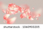 pink petals soar in the air.... | Shutterstock .eps vector #1060903205