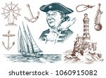 pirate and lighthouse and sea...   Shutterstock .eps vector #1060915082