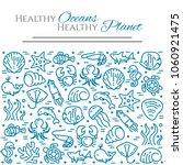 world oceans day theme banner   ... | Shutterstock .eps vector #1060921475