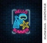 glowing neon sign of summer... | Shutterstock .eps vector #1060924418