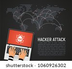 global hacker attack world map... | Shutterstock .eps vector #1060926302