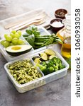 vegan meal prep containers with ... | Shutterstock . vector #1060933058