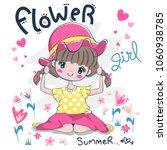 pigtail cute girl wearing a sun ... | Shutterstock .eps vector #1060938785