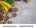 superfoods on a gray background ... | Shutterstock . vector #1060949648