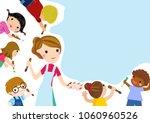 teacher and children | Shutterstock .eps vector #1060960526