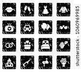 wedding icons set vector grunge ... | Shutterstock .eps vector #1060969985