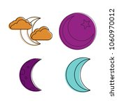 moon icon set. color outline... | Shutterstock .eps vector #1060970012