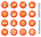 nautical icons set vector red... | Shutterstock .eps vector #1060971332