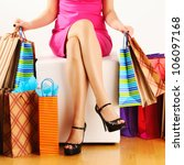 woman's legs and shopping bags | Shutterstock . vector #106097168