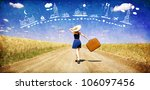 lonely girl with suitcase at... | Shutterstock . vector #106097456