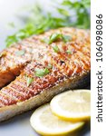 crispy grilled salmon steak... | Shutterstock . vector #106098086