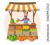 farm shop. local market.... | Shutterstock .eps vector #1060991312