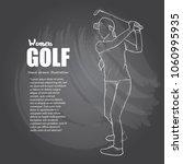 woman golfer illustration on... | Shutterstock .eps vector #1060995935