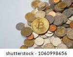 bitcoin on thai baht coins   Shutterstock . vector #1060998656