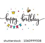 happy birthday party lettering... | Shutterstock .eps vector #1060999508