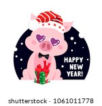 cute pig in a new year's... | Shutterstock .eps vector #1061011778