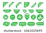 vegan green logo stickers set... | Shutterstock .eps vector #1061025695