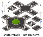 vector isometric crossroads set.... | Shutterstock .eps vector #1061025896