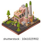 factory plant isometric 3d... | Shutterstock .eps vector #1061025902