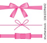 pink bow with ribbons set... | Shutterstock .eps vector #1061039642